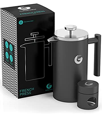 French Press Coffee Maker | 34 Oz | Premium Quality Stainless Steel Cafetiere - Keeps Coffee Hotter Longer With Vacuum Insulated Sides - FREE Mini Coffee Storage Canister by Coffee Gator