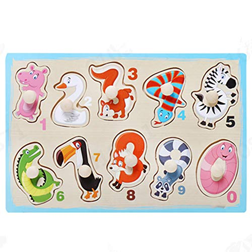 Guo Nuoen Children's Puzzle Grasp Board Puzzle Animals Kids Boy Girl Educational Toy Shape Color Learning ()