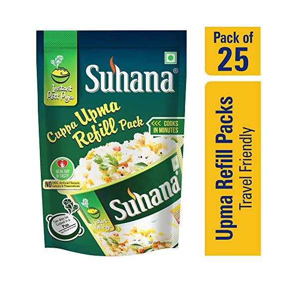 Suhana Cuppa Upma Refill Pouch Ready to Eat Instant Breakfast Meal - Pack of 25