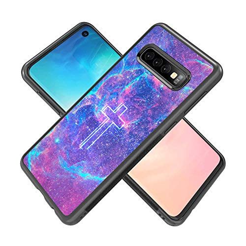 Samsung Galaxy S10 Case with Galaxy Cross Pattern Whimsical Design Bumper Black Soft TPU and PC Protection Anti-Slippery &Fingerprint Case for Samsung Galaxy S10
