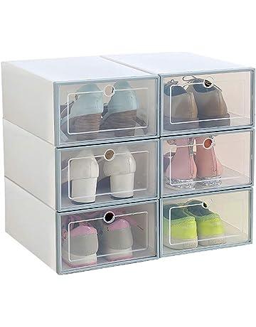7ad137a76 Romancemit Caja de almacenamiento de zapatos, 6 piezas cajas de zapatos de  plástico apilable plegable