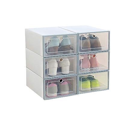 Romancemit Caja de almacenamiento de zapatos, 6 piezas cajas de zapatos de plástico apilable plegable