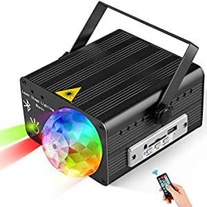 Flysight USB Party Lights LED DJ Disco Ball Light with Bluetooth Speaker MP3 Music Sound Activated Portable Stage Laser Lighting with Remote Control Support SD Card for Xmas Club Bar Parties (Black)