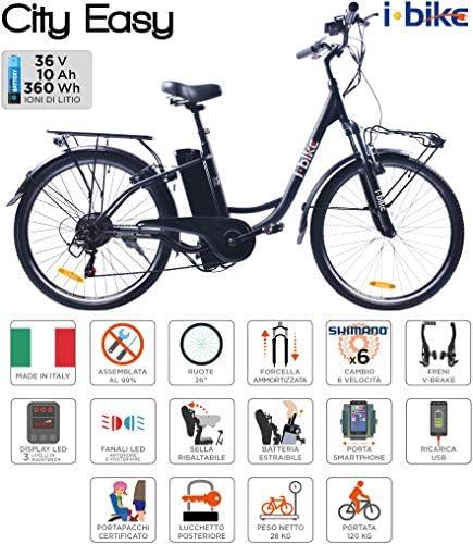 i-Bike City Easy Bicicleta eléctrica, Negro, 180 x 90 x 32 cm: Amazon.es: Deportes y aire libre
