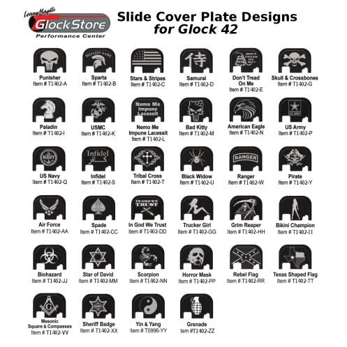 (Custom Slide Cover Plates for Glock 42 T1402 (Texas Shaped)