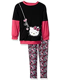 Hello Kitty Girls' Legging Set with Sugar Glitter Printed Top