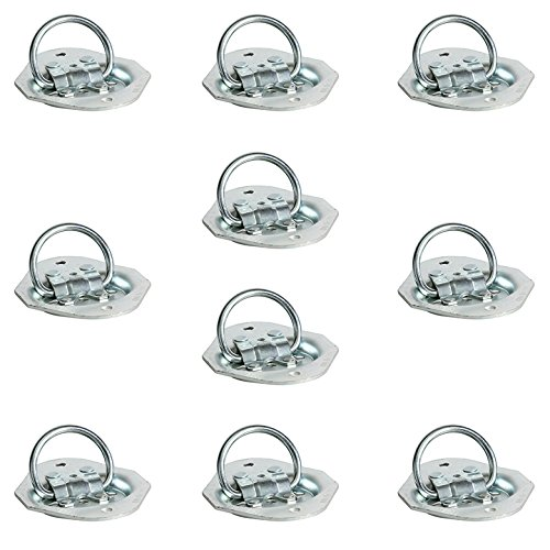 DC Cargo Mall 10-Pack Light Duty Zinc-Plated Oval D Ring Tie-Down, Recessed Floor Surface Flush Mount Pan Fitting, WLL 400 lbs. ()