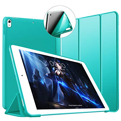 VAGHVEO iPad Pro 10.5 Case - Ultra Slim Lightweight Trifold Stand Case [Auto Sleep/Wake] with Full Body Protective Soft TPU Back Smart Cover for 2017 10.5 Inch Apple iPad Pro A1701/A1709, Green