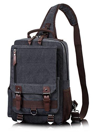 H Hikker-Link Canvas Messenger Bag for Men Laptop Sling Backpack Black Vintage