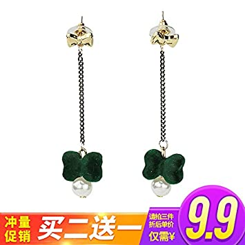 Amazon South Korean Wild Personality Simple Bow Pendant Earrings Temperament Long Section Of Red Tide People With Super Cents Models