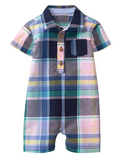 Gymboree Baby Boys Short Sleeve Onsie, Petal Pink Plaid, 12-18 mo