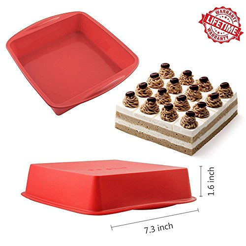 IC ICLOVER NonStick Square Cake Pan, [2 Pack] 7 Inch Food Grade Silicone Square Baking Pan Square Bakeware Bread Cake Mold with Handle Grips BPA Free - Red by IC ICLOVER