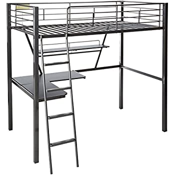 68113592f79d Amazon.com: ACME Senon Silver and Black Loft Bed with Desk: Kitchen ...