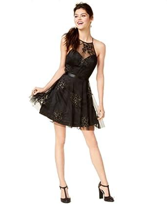 991f2cf38 Amazon.com: B Darlin Juniors' Embellished Fit & Flare Dress (Black ...