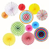 Mexican Fiesta Hanging Paper Fans - Colorful Round Wheel Disc Lantern - Decoration for Party/Wedding/Birthday/Festival/Christmas/Event and Home Decor 12pc/Set