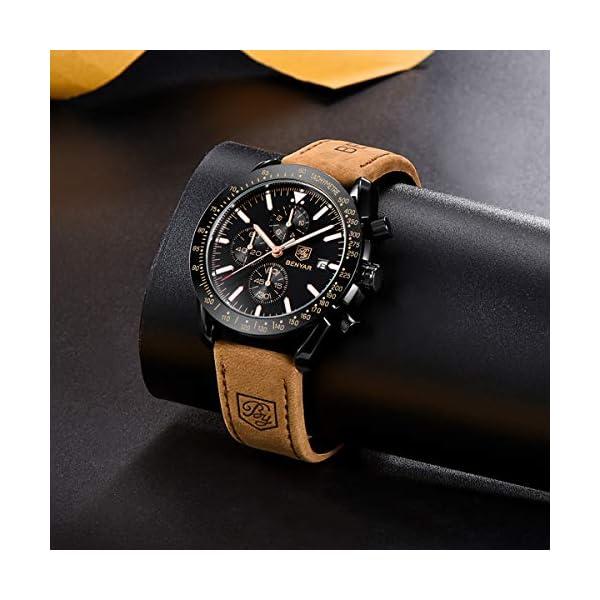BENYAR Montre pour Hommes Chronographe de Mouvement à Quartz 30M étanche Date Analogique Montres Bracelet Militaire de…