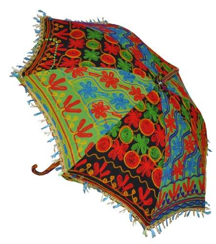 Indian Handmade Designer Cotton Fashion Multi Colored Umbrella Embroidery Boho Umbrellas Parasol 5 Pcs Lot by Rajasthali (Image #4)