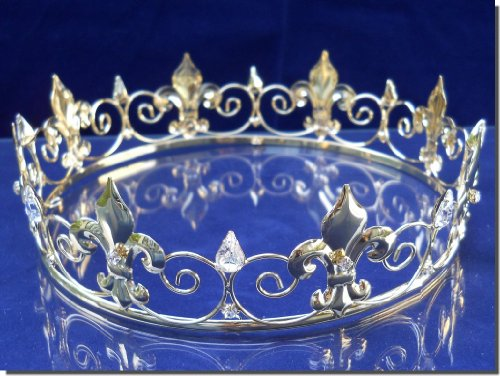 SparklyCrystal Silver Full King's Crown