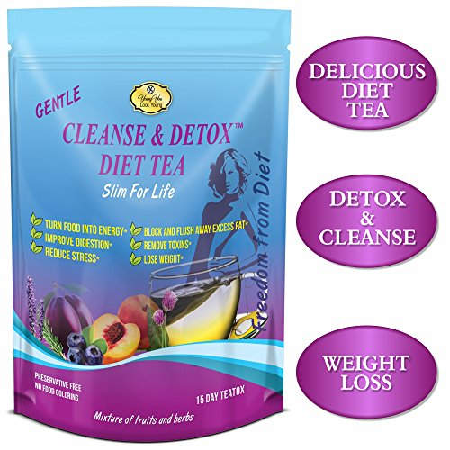 Detox Tea for weight loss - Colon Cleanser, Herbal Appetite Suppressant, Bloating, Constipation Relief. Every Day Detox Tea. Flat Belly Weight Loss for Men and Women.