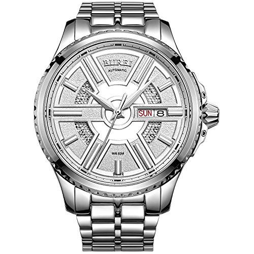BUREI Men's Luxury Automatic Skeleton Wrist Watches with Day Date Clander Silver Stainless Steel Band (Gents Swiss Movement Watch)