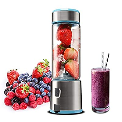 Portable Glass Smoothie Blender, Kacsoo S620 USB Rechargeable Personal Blender Juicer Cup, Single Serve Fruit Mixer, Multifunctional Small Travel Blender for Shakes and Smoothies, with 5200 mAh Rechargeable Battery, FDA BPA Free (Baby Blue)