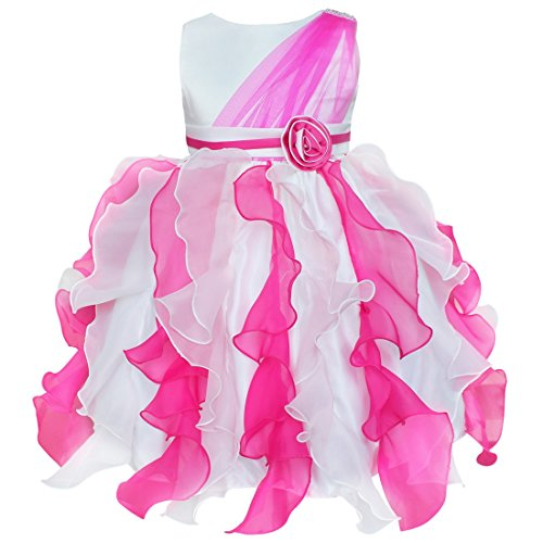 iEFiEL Flower Girl Pageant Ruffle Tulle Bow Formal Party Wedding Dress Hot Pink 5-6 (Wedding Dress Hot Pink)