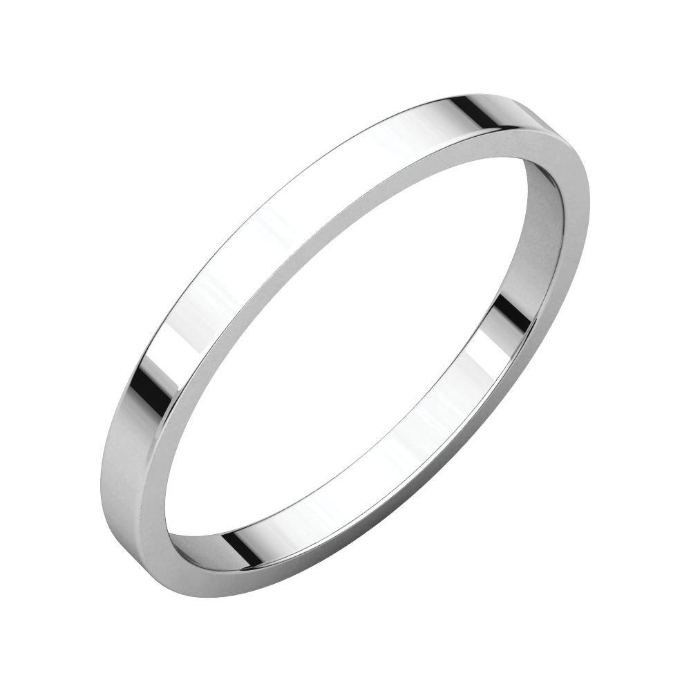 Size 13 Bonyak Jewelry 10k White Gold 2 mm Flat Band