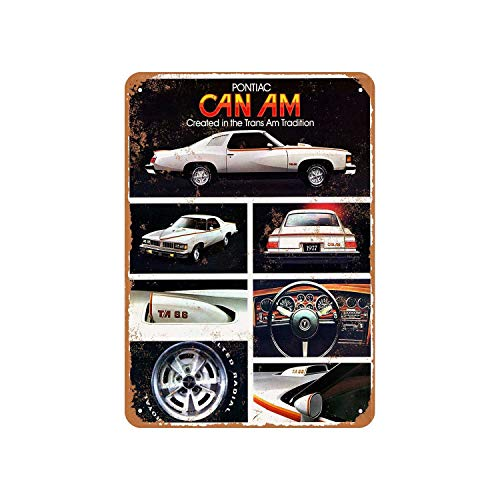 Fhdang Decor Vintage Pattern 1977 Pontiac Can Am Vintage Look Aluminum Sign Metal Sign,12x18 Inches