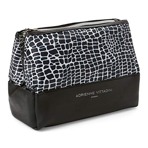 (Adrienne Vittadini Cosmetic Makeup Bags: Compact Travel Toiletry Bag - Black and White Crocodile (Black and White)