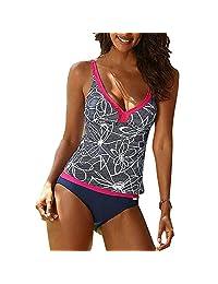 KINDOYO Women's Plus Size Bikini Two Piece Swimsuit Tankini Sets V-neck Printing Swimwear