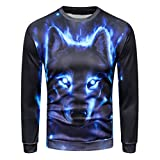 Men's 3D Printed Wolf Pullover Long Sleeve Hooded Sweatshirt Tops Blouse Plus Size Autumn Winter (XL)