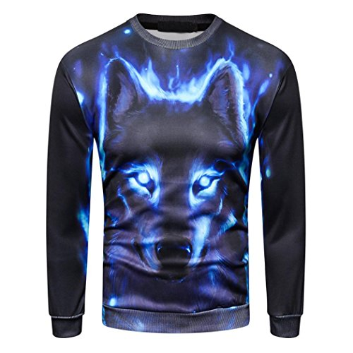 Men's 3D Printed Wolf Pullover Long Sleeve Hooded Sweatshirt Tops Blouse Plus Size Autumn Winter (XL) by Hattfart (Image #1)