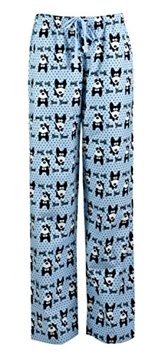 Dog Print Pajama - Leisureland Women's Pure Cotton Flannel Pajama Sleep Lounge Pants Bow Wow! Dog Design (Large)