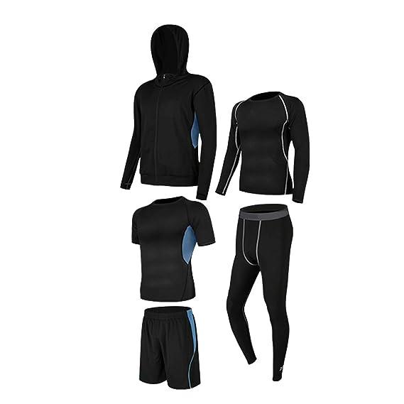 GYUANLAI Conjuntos de chándal para Hombre Conjunto de Traje Deportivo Elástico de Secado rápido Transpirable Cremallera Suave Running Gym Fitness ...
