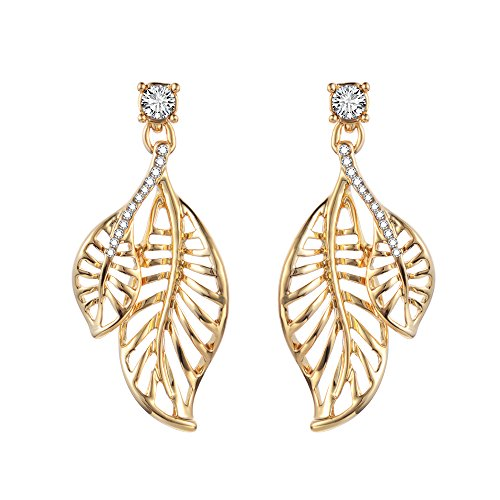 XZP 18K Gold Plated Cutouts Leaves Dangle Earrings for (Gold Plated Cut Out)