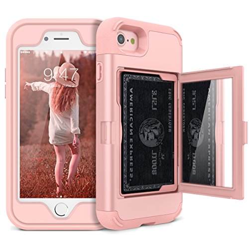 (iPhone 7/8 Wallet Case - WeLoveCase Defender Wallet Design with Hidden Back Mirror and Card Holder Heavy Duty Protection Shockproof 3 in 1 All-Round Armor Protective Case for iPhone 7 8 - Rose Gold)