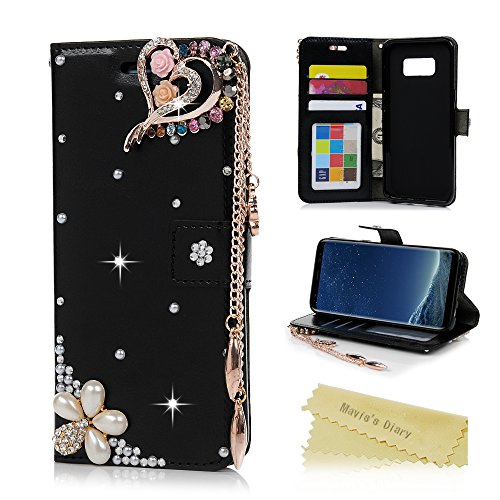 Galaxy S8 Case, Wallet Case [Folio Style][Stand Feature] Card Case Premium Protective PU Leather Flip Cover 3D Handmade Bling Diamonds Embossed Floral Butterflies Hand Strap by Mavis's Diary (Black)