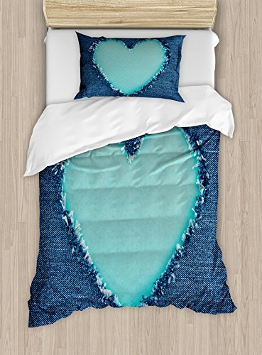 Ambesonne Navy and Teal Duvet Cover Set Twin Size, Ripped Denim Jean Fabric Image Heart Shape Love Romance Valentines Day, Decorative 2 Piece Bedding Set with 1 Pillow Sham, Navy Blue Seafoam