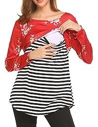 Women's Long Sleeve Striped Patchwork Maternity Nursing Tops Breastfeeding Shirt