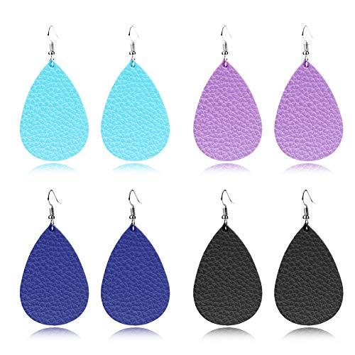 GIMEFIVE 4 Pairs Leather Teardrop Glitter Sequins Earring Lightweight Leaf Drop Bohemian Hollow Earrings for Women Girl (Blue+Purple+Navy+Black) ()