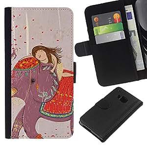 HTC One M9 Modelo colorido cuero carpeta tirón caso cubierta piel Holster Funda protección - Drawing India Girl Art
