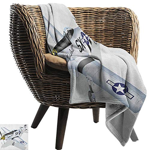AndyTours Outdoor Blanket,Vintage Airplane,P-51 Dallas Doll Detailed Illustration American Air Force Classic Plane, Multicolor,300GSM,Super Soft and Warm,Durable Throw Blanket - Maker Andy Doll