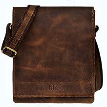 Handolederco Leather Messenger Satchel Laptop Bag for Men's and Women's Leather Satchel Laptop Messenger Unisex Ipad Mini Laptop Bag