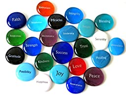 Focus Glass Stones, 24 Inspiring, Encouraging and Motivating Single Words Imprinted on Glass Stones. By Lifeforce Glass, Inc. Set I.