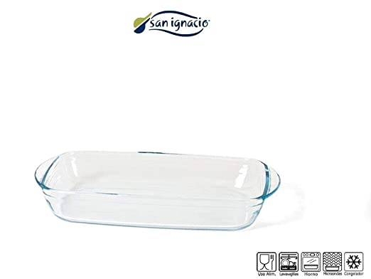 Gerimport Bandeja Horno Rectangular de Cristal Capacidad 2.1 ...
