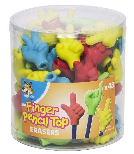 Tub of 48 Finger Pencil Topper Erasers