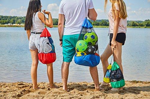 HOPEVILLE Netzbeutel-Set 4-teilig, Praktische Packbeutel in drei verschiedenen Größen für Sport, Freizeit, Haushalt, Outdoor und Urlaub