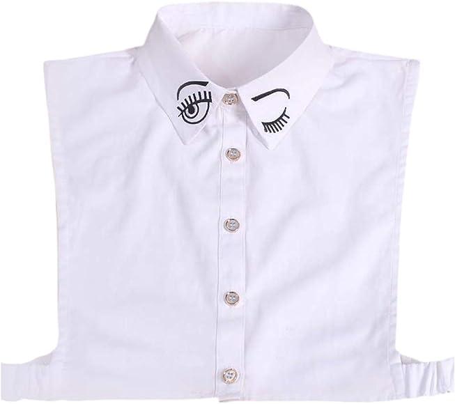 xian coreano para mujer lindo bordado ojos desmontables cuello falso algodón solapa media camisa blusa suéter decorativo ropa accesorio: Amazon.es: Ropa y accesorios