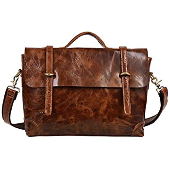 Image of Luggage ALTOSY Vintage Leather Briefcase Laptop Messenger Bag Business Office Satchel Bags 6806 (Light Brown)