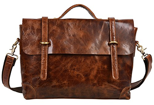 ALTOSY Vintage Leather Briefcase Laptop Messenger Bag Business Office Satchel Bags 6806 (Light Brown) (Light Brown Leather Briefcase)